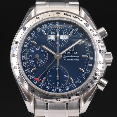 Omega Speedmaster Day-Date Stainless Steel Automatic Chronograph Wristwatch