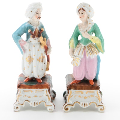 German Porcelain Fairing Figurines with Turbans, 1890-1920