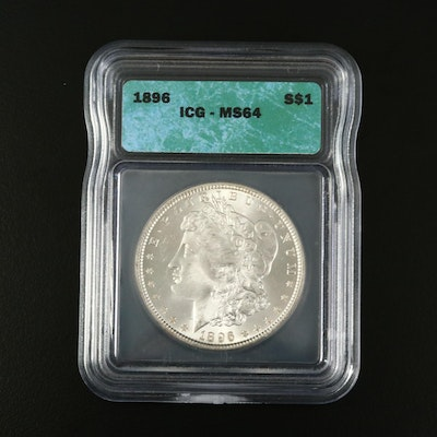 ICG Graded MS64 1896 Silver Morgan Dollar