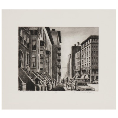 """Lawrence Nelson Wilbur Etching """"Old Brownstones- New York"""", 1983"""
