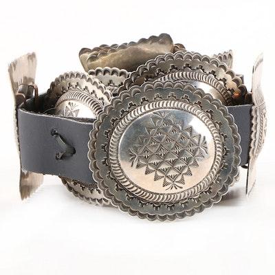 Signed Sterling Silver Southwestern Concho Black Leather Belt