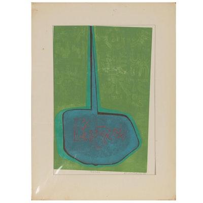 "Leonard Maurer Woodcut ""Poem #2"", 1970"
