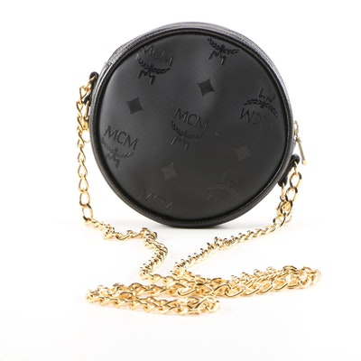 MCM Mini Round Black Visetos Nylon Crossbody Bag, Vintage