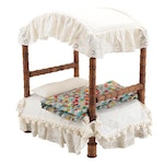 Handmade Wooden Spool Canopy Doll Bed with Quilt and Bedding
