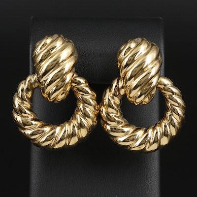 Ciner Scalloped Hoop Earrings
