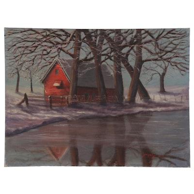 "Pastoral Landscape Oil Painting ""Winter Music"""