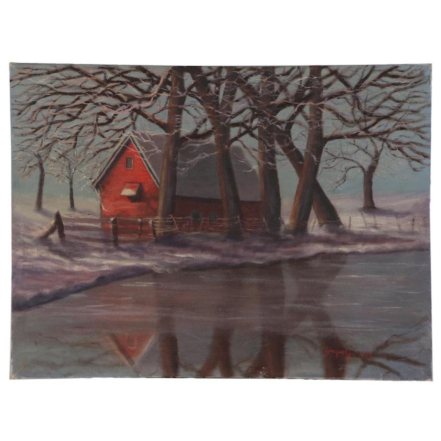 "Pastoral Landscape Oil Painting ""Winter Music"""