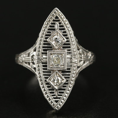 14K White Gold Diamond Navette Ring