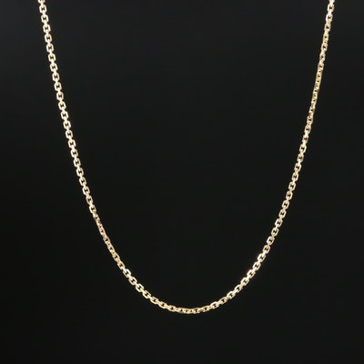 14K Yellow Gold Square Cable Chain Necklace