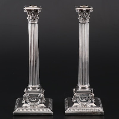 Pair of Elkington & Co. Victorian Silver Plate Column Candlesticks, 1878