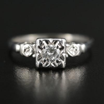 14K White Gold 0.14 CT Diamond Ring
