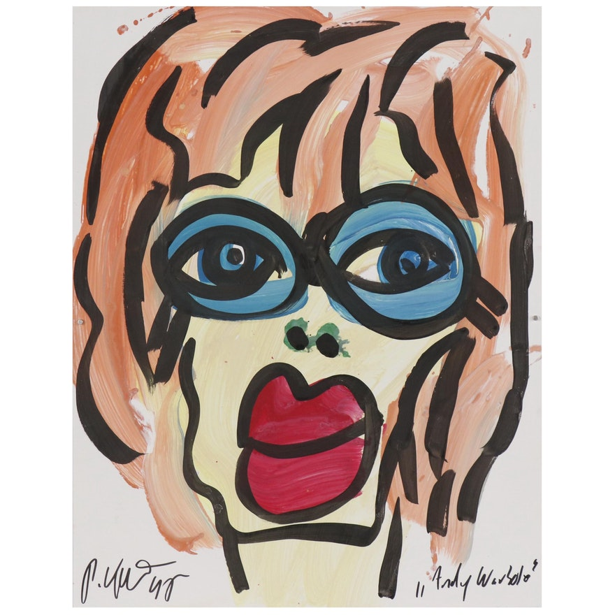 """Peter Keil Abstract Acrylic Portrait """"Andy Warhol"""""""
