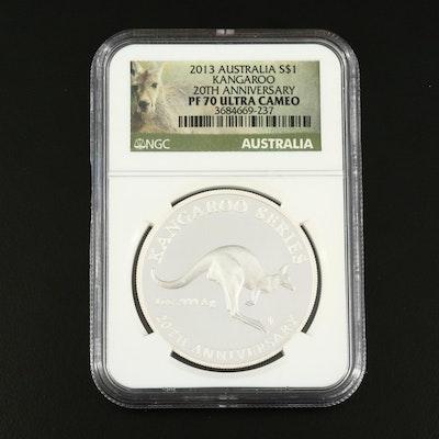 NGC Graded PF70 Ultra Cameo 20th Anniversary 2013 Australia $1 Silver Coin