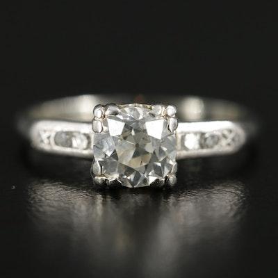 Circa 1930s Jabel 18K White Gold Diamond Ring