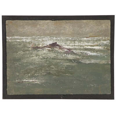Oil Painting Attributed to Auguste-Jean Gaudin of an Abstract Seascape