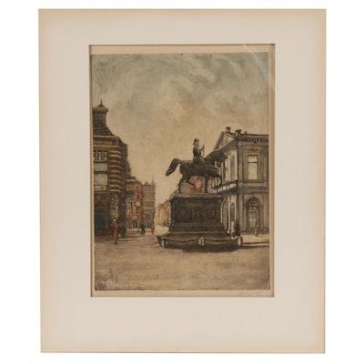 """John Feherst Etching """"Nooreinde den Haag (North End of The Hague)"""""""