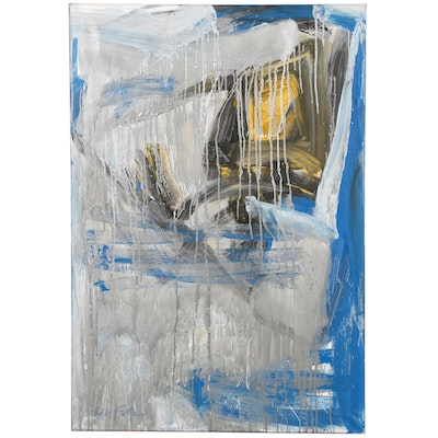 "Robbie Kemper Abstract Acrylic Painting ""Metallic Silver Monumental"""