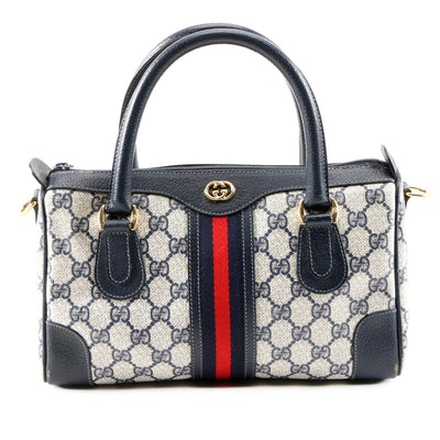 Gucci GG Supreme Canvas and Navy Leather Web Stripe Satchel