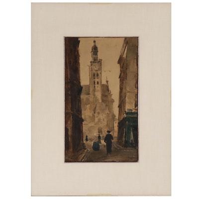 """Cityscape Watercolor Painting """"La Montagne St. Genevieve"""", 1883"""