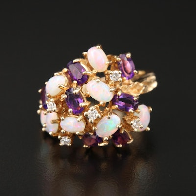 14K Gold Opal, Amethyst and Diamond Cluster Ring