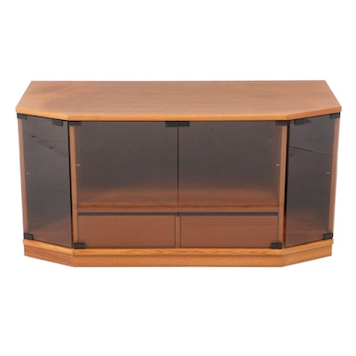 Teak Media Cabinet with Tinted Glass Doors, Late 20th Century