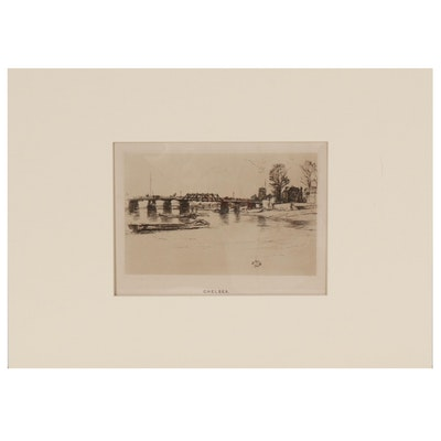 """J.S. Virtue & Co. Etching after James Abbott McNeill Whistler """"Chelsea"""""""