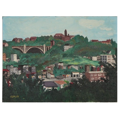 Oil Painting of Hillside Townscape