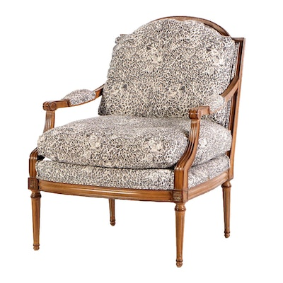 Louis XVI Style Upholstered Arm Chair, Late 20th Century