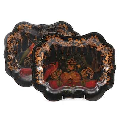 Pair of Tôle Peinte Serving Trays with Bird and Floral Motif, 19th Century