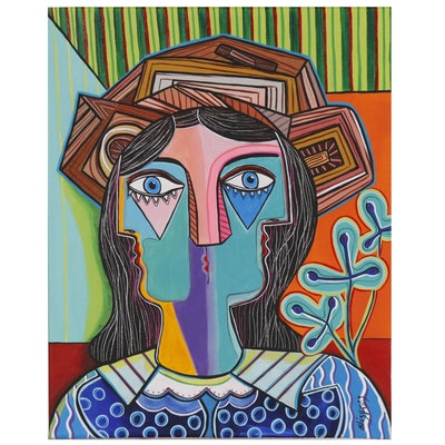 "Michel Blázquez Acrylic Painting ""Woman with Hat, Orange Room"""