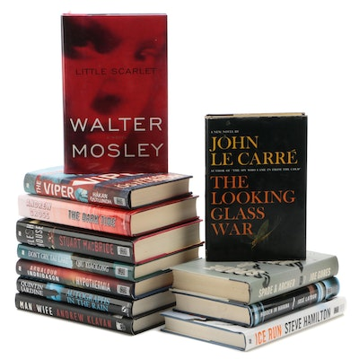 Crime, Mystery, and Thriller Novels Including John le Carré and Walter Mosley