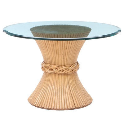 McGuire Bundled Rattan Reed Pedestal Dining Table with Beveled Glass Top