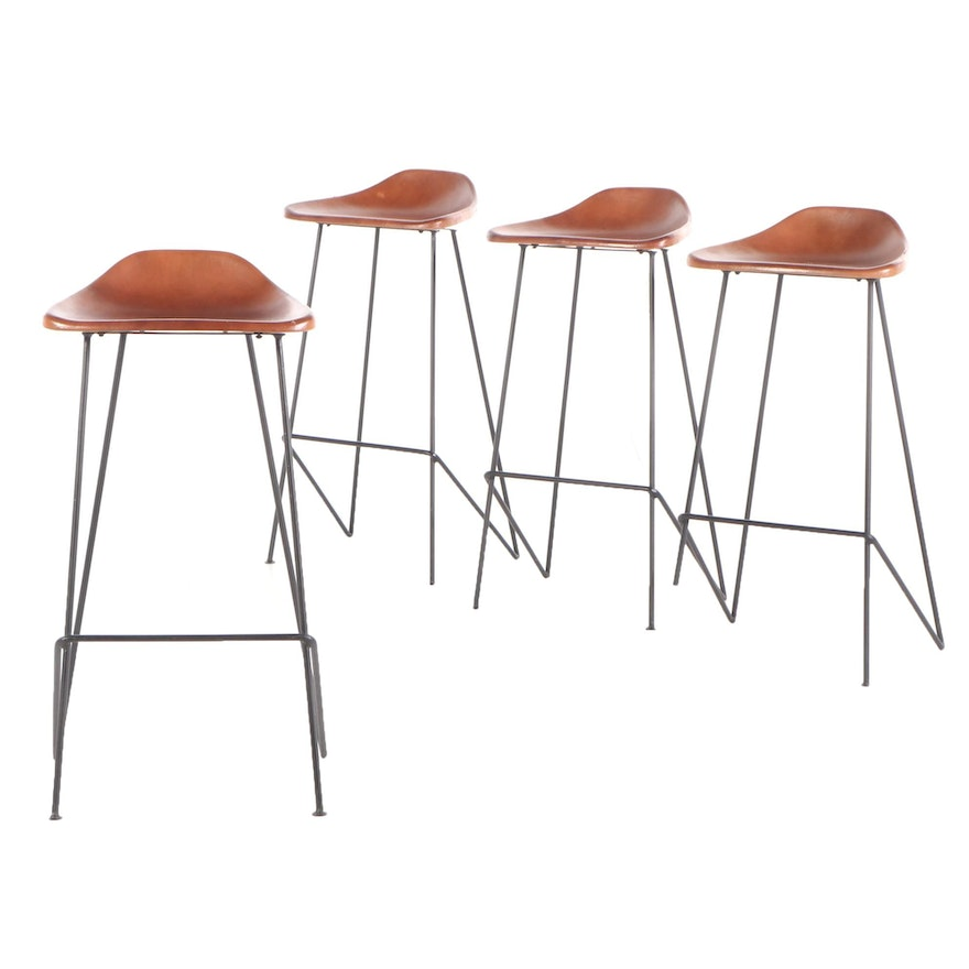 Contemporary Modern Molded Leather Shell Seat and Metal Frame Bar Stools