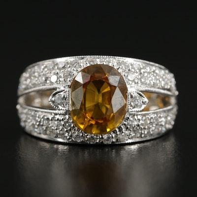 18K White Gold 3.00 CT Yellow Sapphire and Diamond Ring