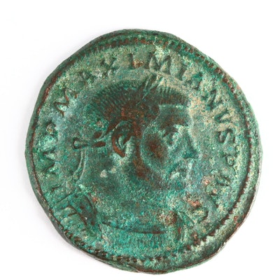 Ancient Roman Imperial AE Follis Coin of Maximianus, ca. 302 A.D.