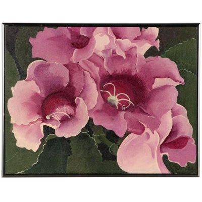 "Jane Sulkes Floral Acrylic Painting ""Gloxinia"""