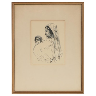 Paul Ashbrook Lithograph of Mother and Child