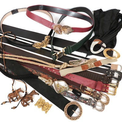 Leather, Cloth and Woven Belts, Vintage