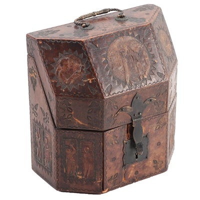 Continental Tooled Leather-Wrapped Letter Box, Late 19th/ Early 20th Century