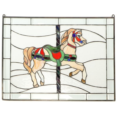 Carousel Horse Stained Glass Window Hanging