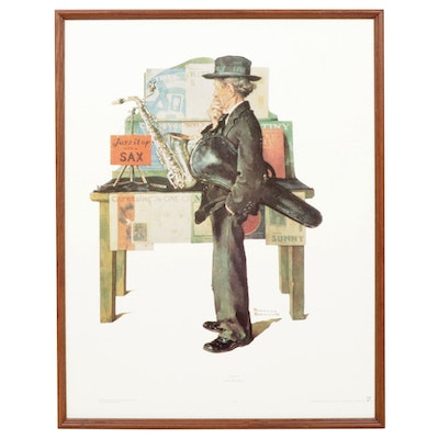 "Offset Lithograph after Norman Rockwell ""Jazz It Up"""