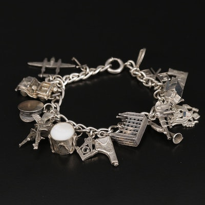 Sterling Charm Bracelet Featuring Mormon Temple, Masonic, US Coat of Arms, Army