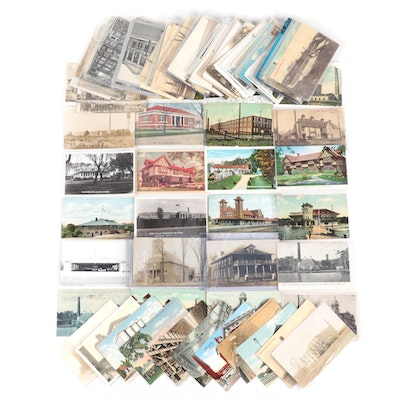 Postcard Collection Featuring Landmarks and Buildings of Michigan
