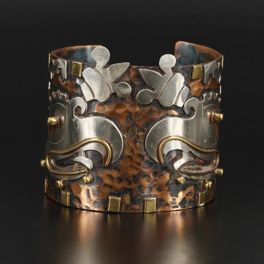 Southwestern Style Cuff Bracelet Featuring Thunderbird Motif