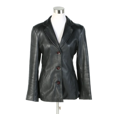Black Leather Button Front Jacket with Notched Collar