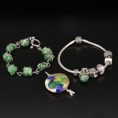 Sterling Silver Lampwork Glass Pendant and Bracelets Including BIAGI