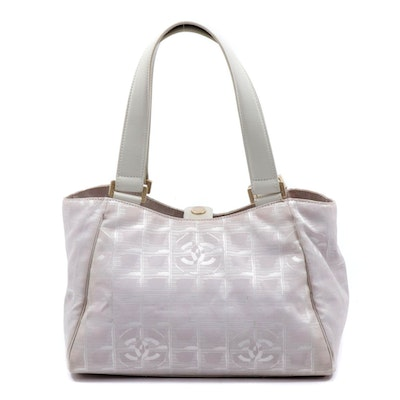 Chanel Travel Line Tonal White Jacquard Nylon and Leather Shoulder Bag