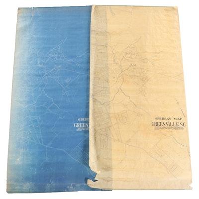Large-Format Map Draft and Blueprint of Greenville, South Carolina, 1920