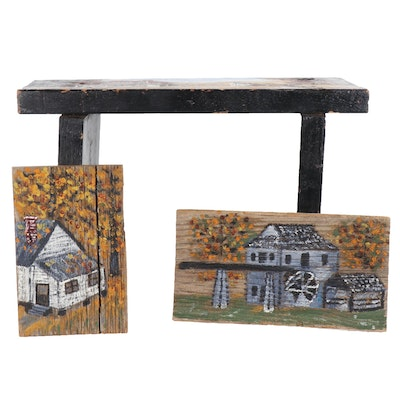Naive Style Paintings of Rustic Buildings on Wooden Stool and Panels