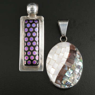 Lee Bennett Navajo Diné Sterling Silver Mother Of Pearl and Abalone Pendants